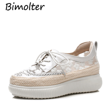 Bimolter Cow Leather + Floral Mesh Women Casual Flats White Black Pink Girls School Shoes British Styles Sweet FC084