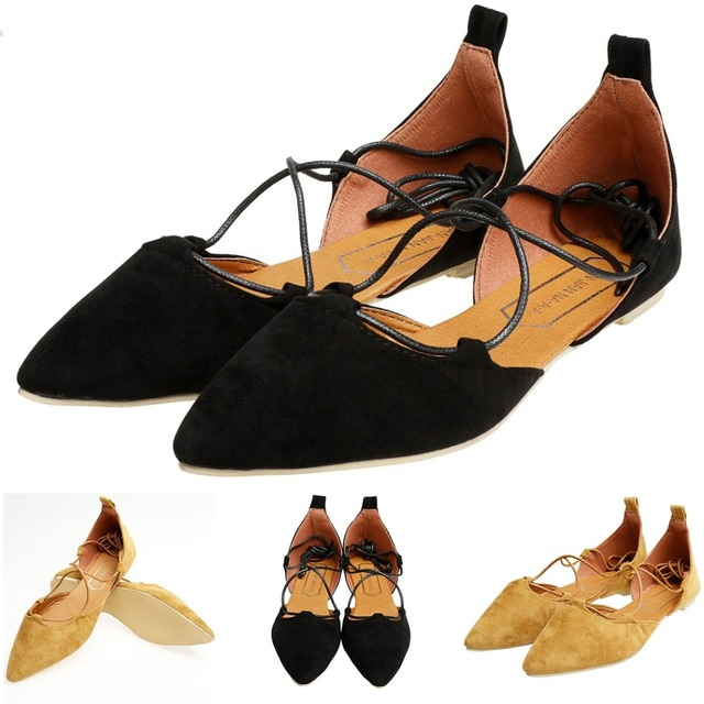 b855af3e4ebf 2017 Spring Summer Women Black Suede Pointed Toe Cross Strappy Lace Up  Ballerina Ballet Flat Shoes