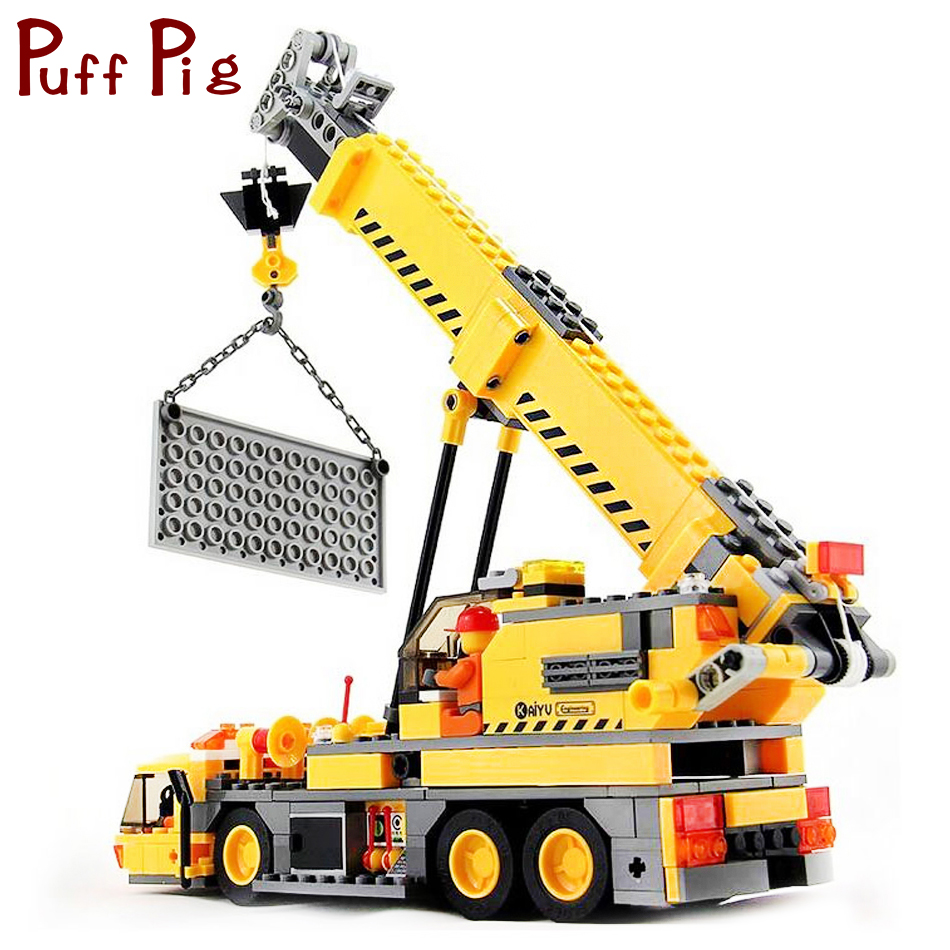 380PCS Engineering Vehicles Trucks Crane Building Blocks Model Compatible Legoed City Construction Toys Gifts For Kids Boys woma engineering architecture education model urban engineering vehicles building blocks children toys compatible with legoe