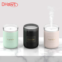 DHaws 280ML Air Humidifier LED Candle Ultrasonic Cool Mist Essential Oil Diffuser USB Aroma Lamp Car Purifier Fogger Mist Maker
