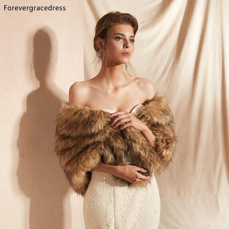 Forevergracedress 2019 Elegant Soft Autumn Winter Faux Fur Bride Wedding Wrap Bolero Jackets Bridal Coats Shawls Scarves PJ306