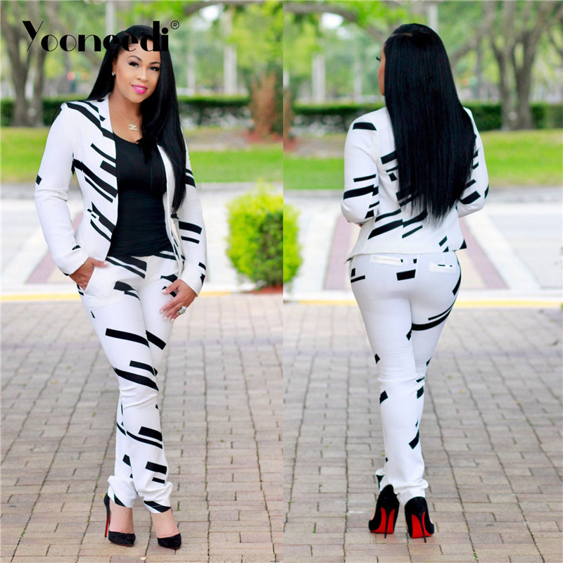 Yooneedi 2019 Autumn New Arrival Casual 2 piece Women Set Color White Black Open Stitch Full Sleeve Top Long Pant J1260