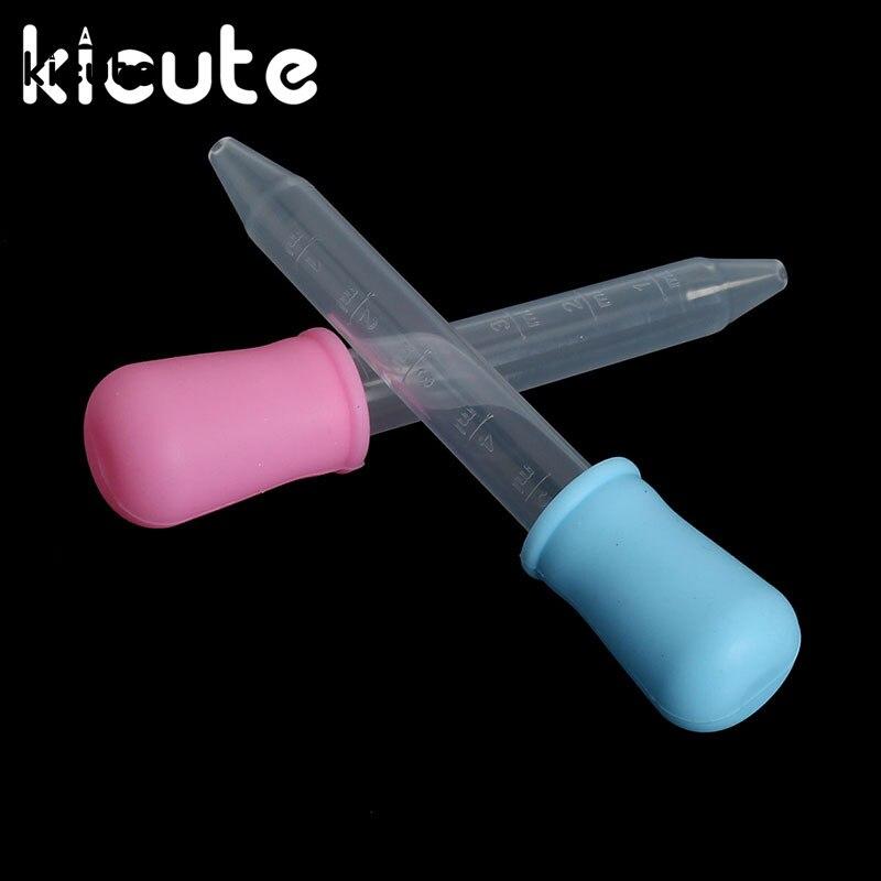 Kicute Unique 5ml Small Silicone Plastic Feeding Medicine Liquid Eye Ear Graduated Pipette Dropper School Home Supplies 2 Colors