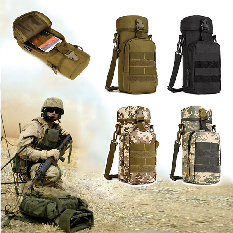 Water Bags Military Water Bottle Pouch Holder Tactical Kettle Gear Molle Pack Bag for Hunting Camping Hiking Trekking Travel