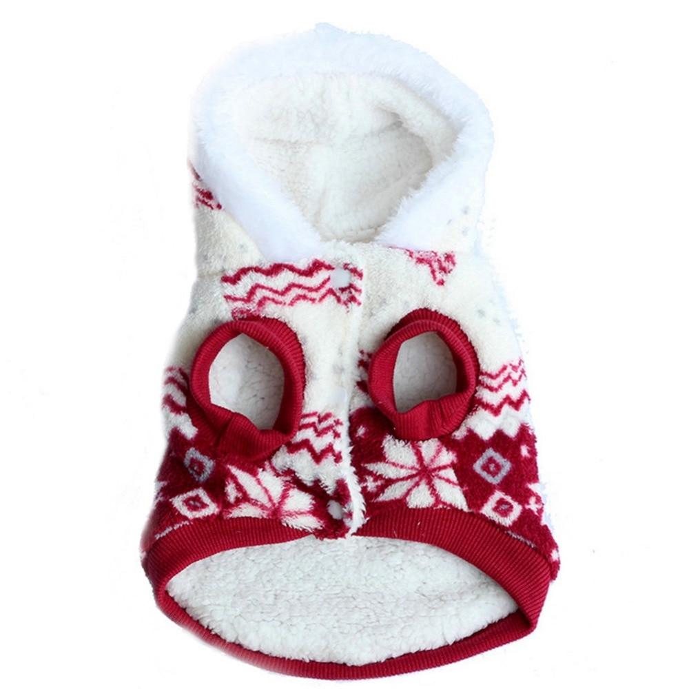 Pets Dog Winter Coat Fleece Snowflake Printed Dog Puppy