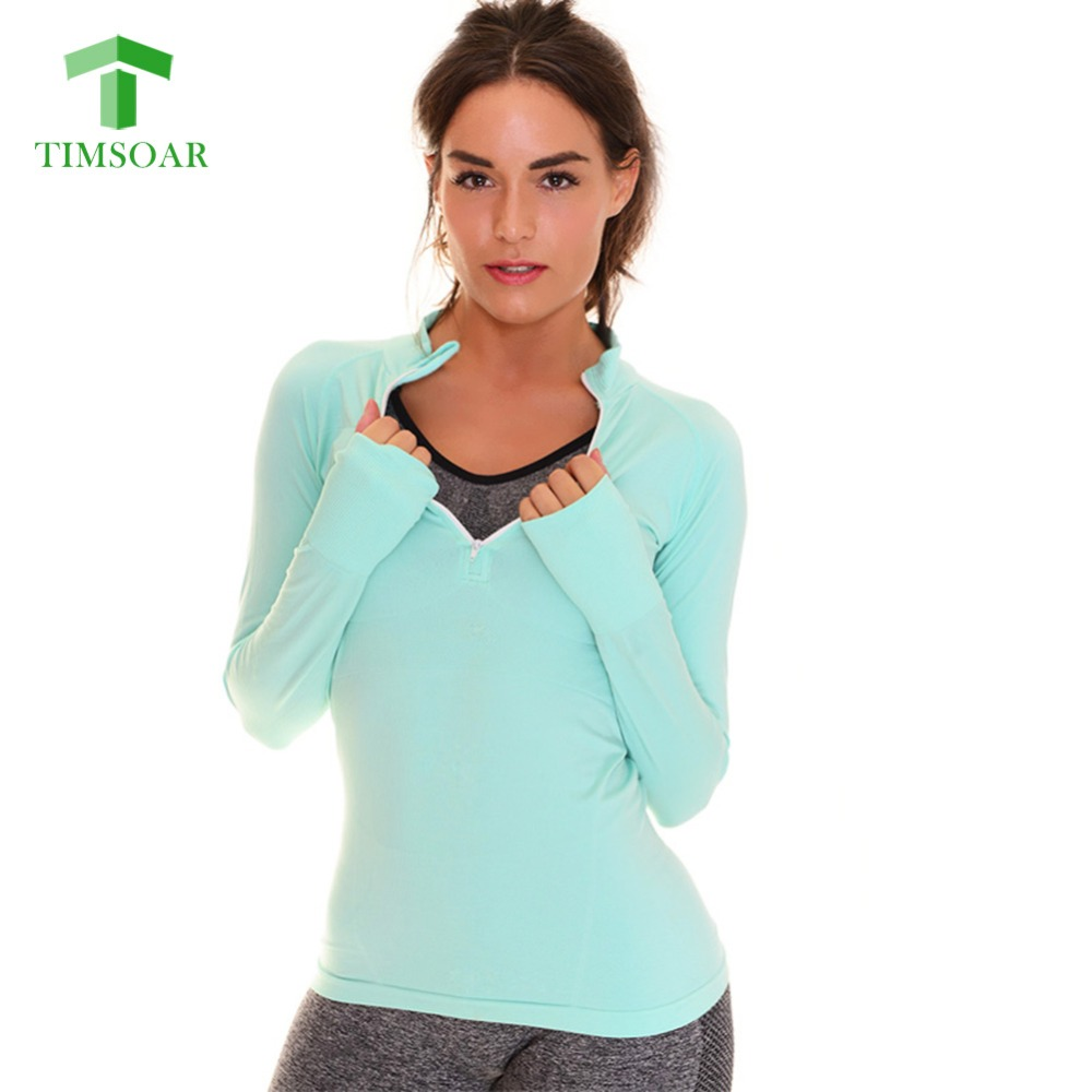 Timsoar Women Sports Yoga Tops Tee Shirts Half Zipper Sexy Gym Workout Clothes Long Sleeve Female Sweatshirts Active Wear Shirt