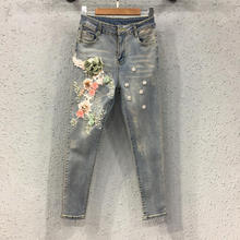 Vintage Embroidery Beaded Denim Jeans Woman Fashion Ripped H
