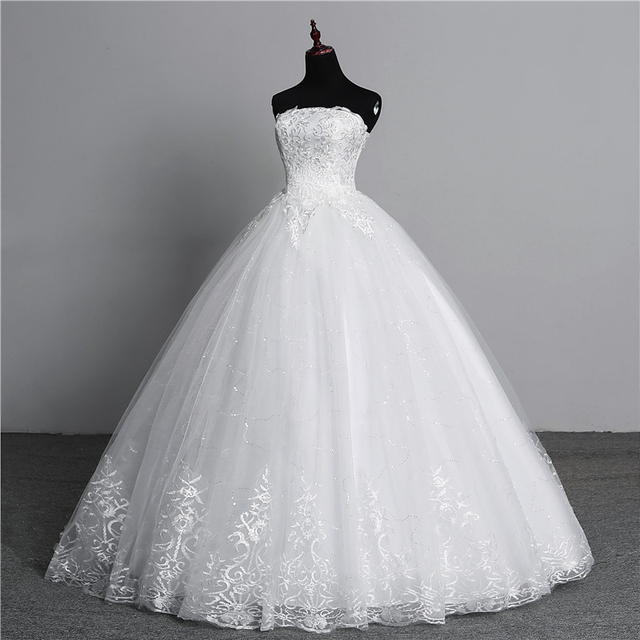 Simple lace flower Strapless off White Fashion Sexy Wedding Dresses for brides plus size vestido de noiva