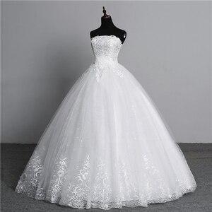 Image 4 - Vraie Photo Simple dentelle fleur sans bretelles blanc cassé mode Sexy robes de mariée pour les mariées grande taille vestido de noiva