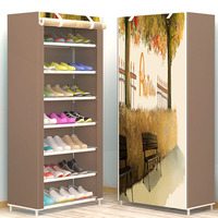 6 Layers Creative DIY Assembly Shoe Rack Modern Minimalist Non woven Shoe Storage Dustproof Shoes Imagism Organizer Shelf Rack