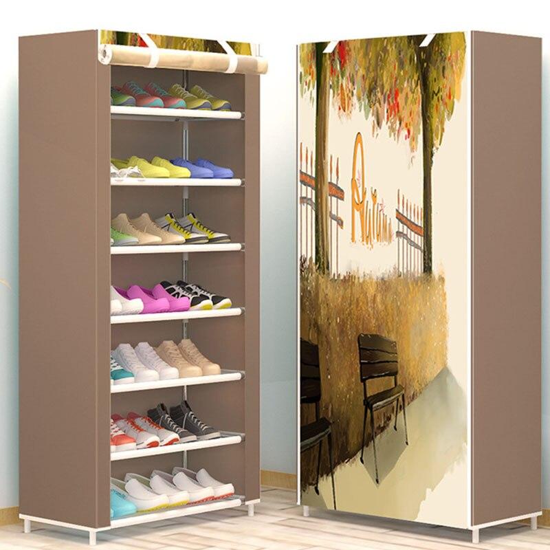 6 schichten Kreative DIY Montage Schuh Rack Moderne Minimalistischen Nicht-woven Schuh Lagerung Staubdicht Schuhe Imagism Organizer Regal Rack