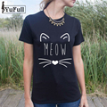 Fashion Summer 2017 Black T Shirt Women Tops Tees Harajuku Graphic Basic Short Sleeve Cat letter Print Tshirt Women Tees Tops