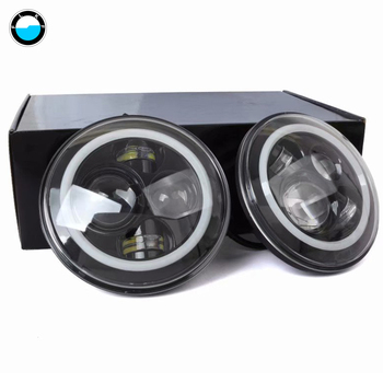 """7 Inch Led Driving Light  H4 H13 LED Car Headlight Kit Auto With Angle Eyes  7"""" Round Headlamp For Jeep Wrangler Off Road 4x4."""