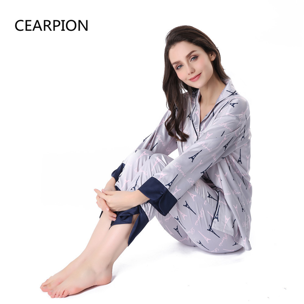 CEARPION 2018 Women Satin Pajama Set Sleepwear Sexy Print Nightgown Nightwear Casual Shirt& Pant Pyjama Bath Robe Gown