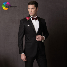 Black Notched Lapel Men Suits For Wedding Suits Groom Blazer Slim Fit Casual Prom Tailor Made Tuxedo Best Man 2 Pieces Costume цена