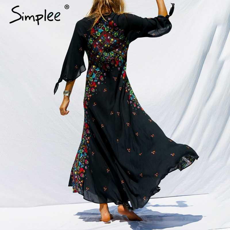Simplee Бохо цветочный принт длинное женское платье плюс размер v-образный вырез Кнопка шифон черный harajuku Платья повседневные женские летние платья