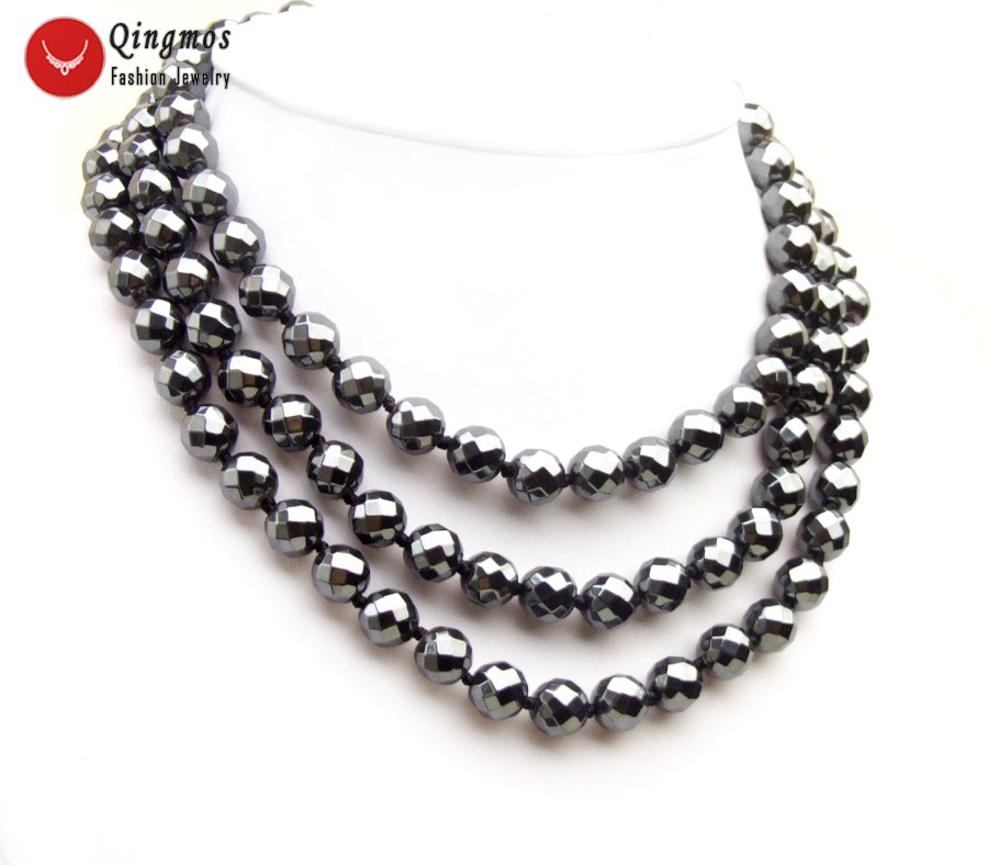 Qingmos Trendy Natural Black Hematite Necklace for Women with 3 Strands 10mm Round Faceted Hematite Stone Necklace Jewelry 6502