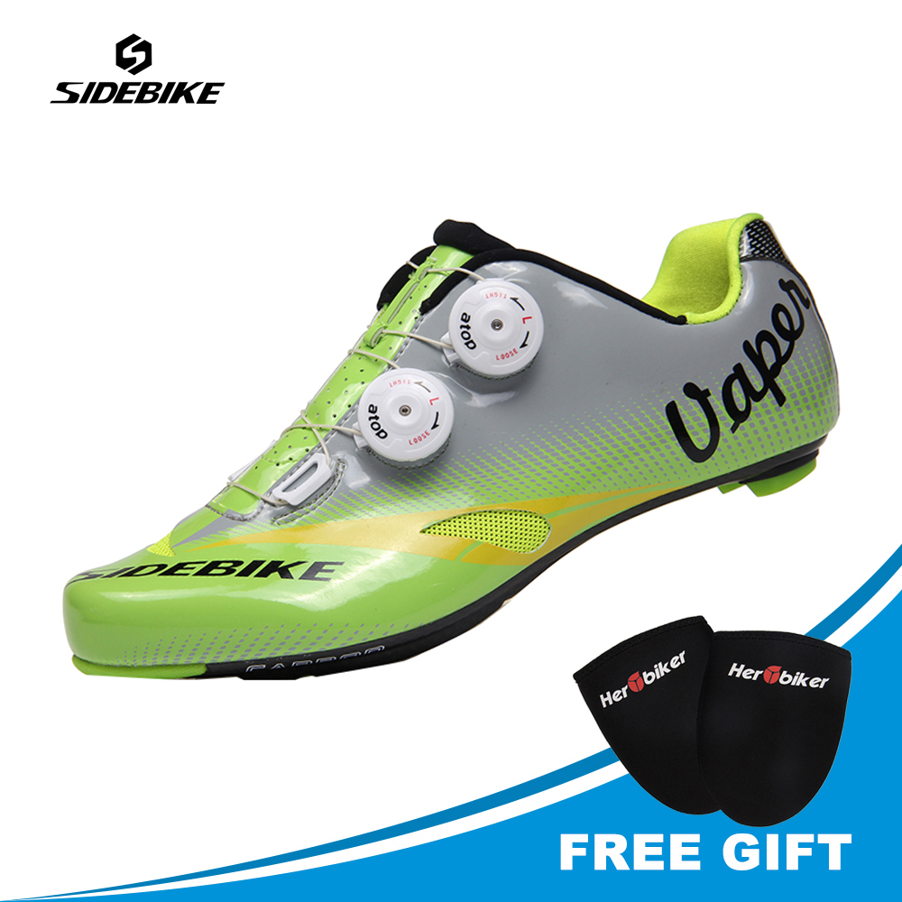 SIDEBIKE Carbon Fiber Road Bike Shoes Riding Equipment Men 39 s Lock Athlet Sneaker Bicycle Self locking Sapatilha Ciclismo Road in Cycling Shoes from Sports amp Entertainment