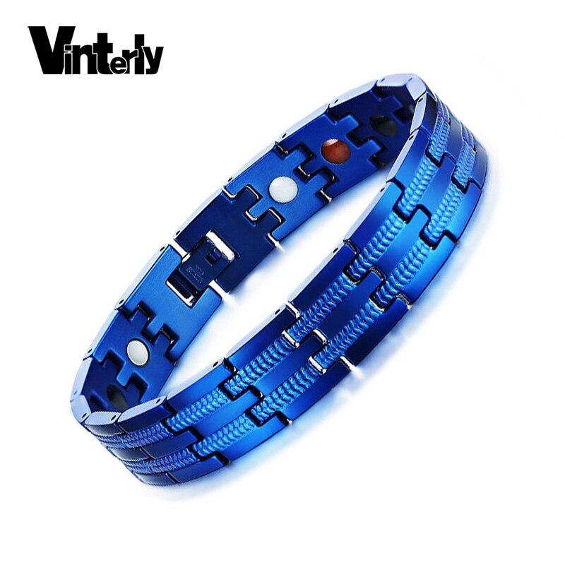 Vinterly Blue Magnetic Bracelet Men Stainless Steel Chain Link Bracelets & Bangles Punk Energy Charms Bracelet for Men Jewellery