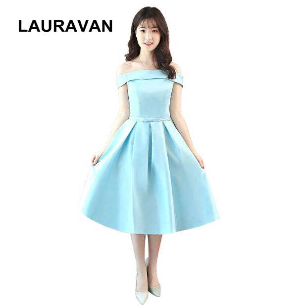 2020 Robes De Soiree Beautiful Light Sky Blue Off The Shoulder Short Prom Satin Occasion Dresses Party Dress Girl Ball Gown Prom Dresses Aliexpress