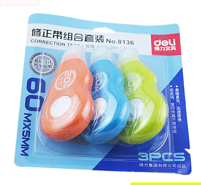 DELI Creative Correction Tape For Pupils Writing Correction Large Capacity Correction Tape Office School Stationery 5mm*20m*3pcs