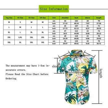 Puimentiua Men's Fashion Print Shirts Casual Button Down Short Sleeve Hawaiian Shirt Beach Holiday Slim Fit Party Shirts Tops 2