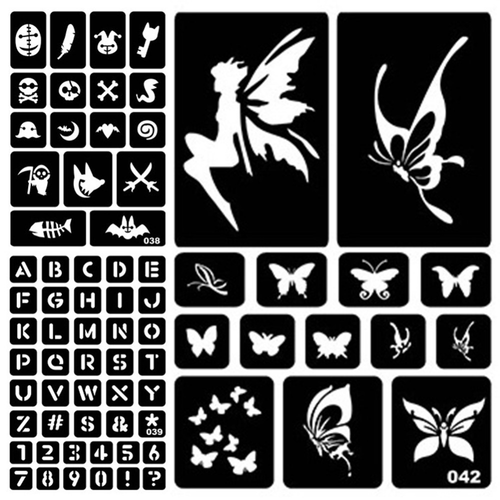1PC Glitter Tattoo Stencil Drawing For Painting Airbrush Tattoo Stencils For Tattoos Temporary Henna Templates Stickers #275072