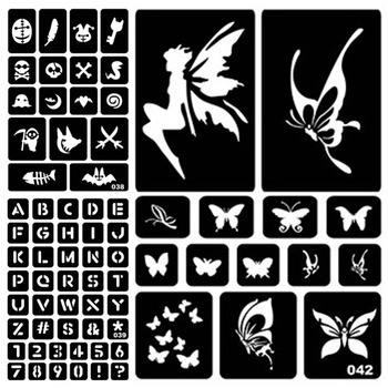 25 Styles Indian Henna Tattoo Stencil Airbrush Tatoos Stencil Glitter Temporary Body Paint Art Design for Women Men #275072