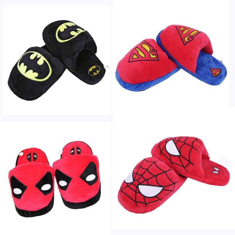 28cm 4 zapatillas de superhéroe de estilo Superman Batman Spiderman Deadpool Harley Quinn zapatillas de felpa de invierno zapatos de interior