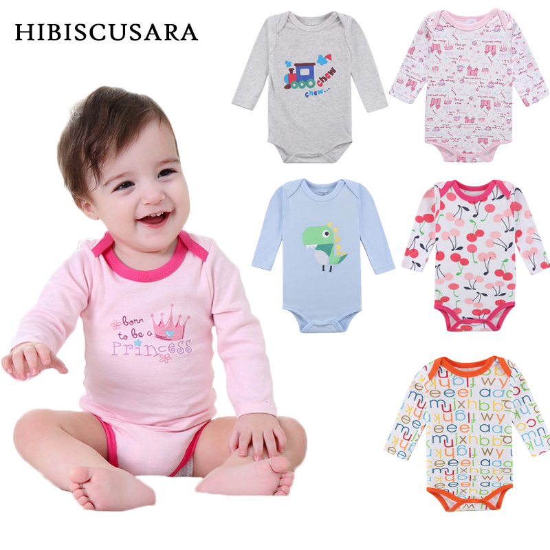 100% Cotton Long Sleeve Baby Rompers 3 pieces/lot Spring Autumn Newborn Bebe Jumpsuit Infant Boy Girl Cartoon Clothes Tops newborn infant baby boy girl cotton romper jumpsuit boys girl angel wings long sleeve rompers white gray autumn clothes outfit
