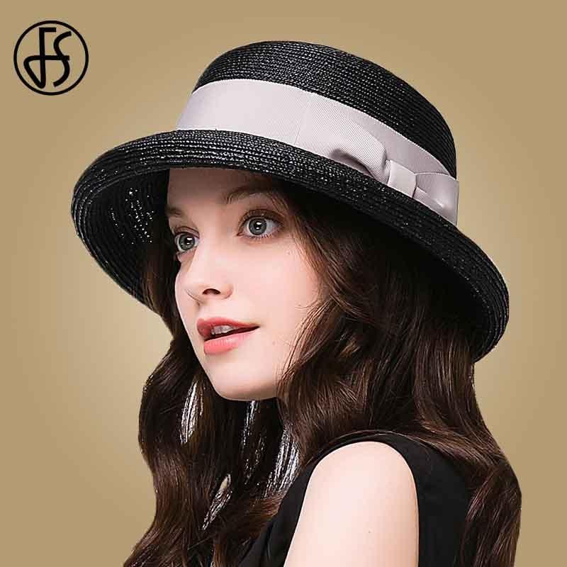 28736d1f73f50 FS Elegant Raffia Straw Hat For Women Summer Wide Brim Sun Hats Beach  Floppy Bowknot Fedora Ladies Cloche Visor Caps-in Sun Hats from Apparel  Accessories on ...