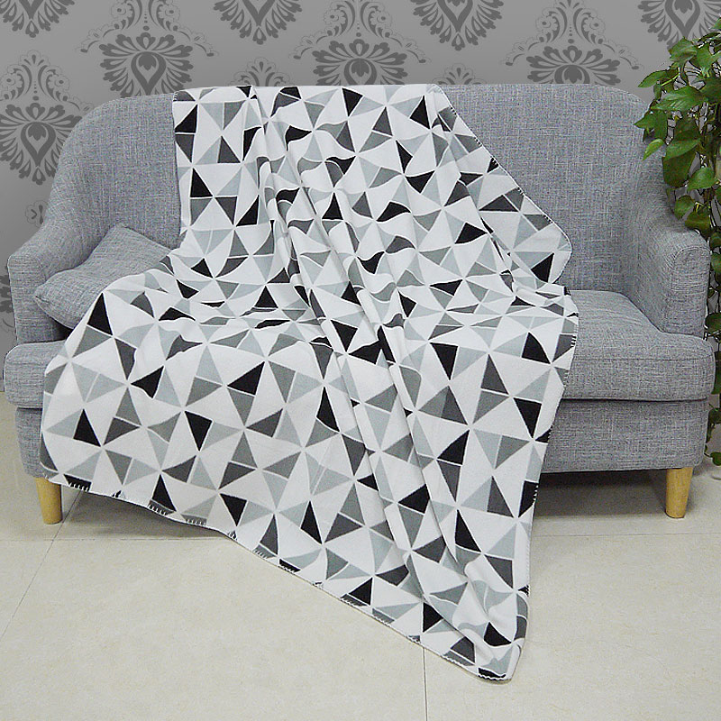 Miraculous New Polar Fleece Blanket Throw White Black Grey Geometric Machost Co Dining Chair Design Ideas Machostcouk