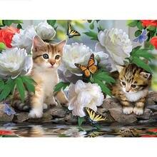 5d алмазная живопись «сделай сам» кошка и бабочка полноразмерная/круглая