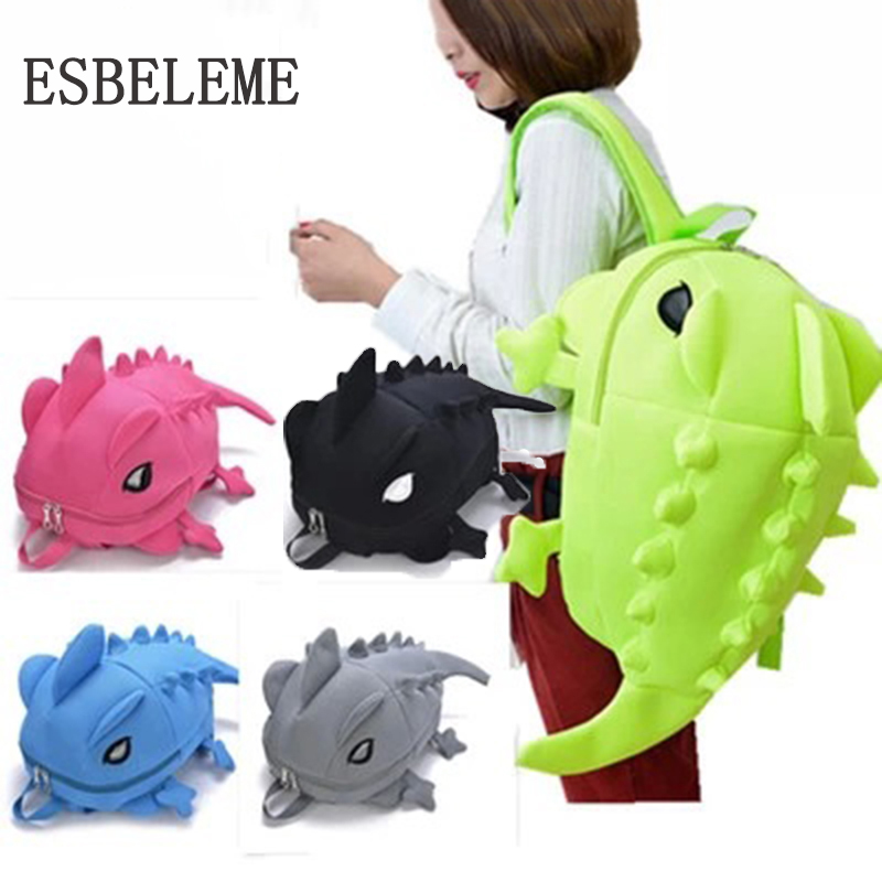 High Quality Women Cartoon Monster Backpack Men Polyester Cotton Large Capacity Dinosaur Big Girls Boys 3d Animal Bag Yi014