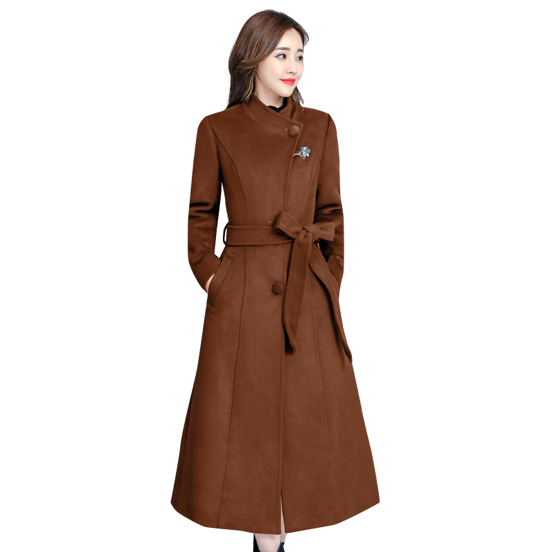 2018 Women Wool Blends Long Coat Upset Slim More Than Knee Sheep Cashmere Coats Outerwear Green Black Caramel Color 341