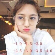 ФОТО alloy glasses frame women oversized myopia glasses frames ladies vintage big myopia glasses -1.0 -1.5 -2.0 -2.5 -3.0 -3.5 -4.0