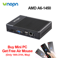 Vnopn Fanless Windows Mini PC AMD A6 1450 Quad core WIFI 8G RAM DDR3 HDMI VGA Dual Display HTPC Barebone Gaming Computer Desktop
