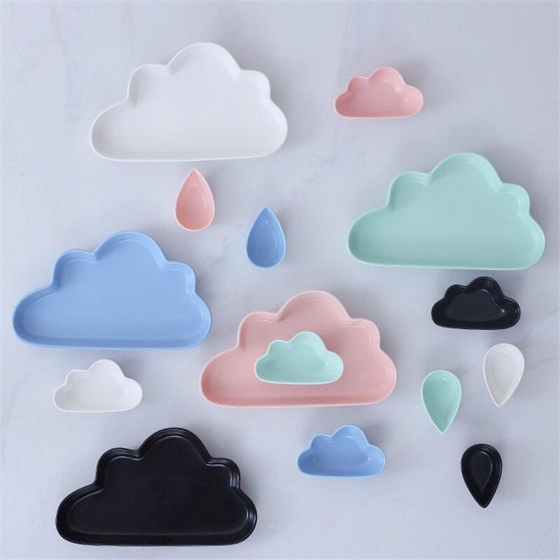 3pcs/<font><b>set</b></font> Clouds Design Ceramic Kids Children Dinner Dish Fruit Snacks Plate Small Drops Dish Dinnerware Tableware