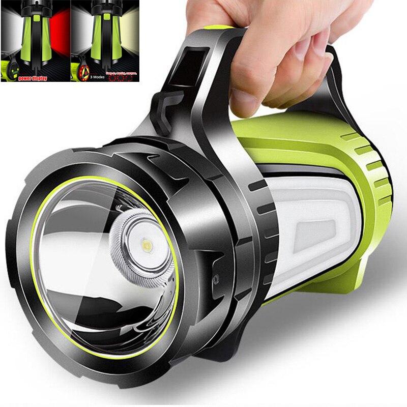 Super brilhante USB Poderosa lanterna LED tochas Pesquisa 2 lado noite luz lâmpada mão lanterna de Acampamento recarregável bateria