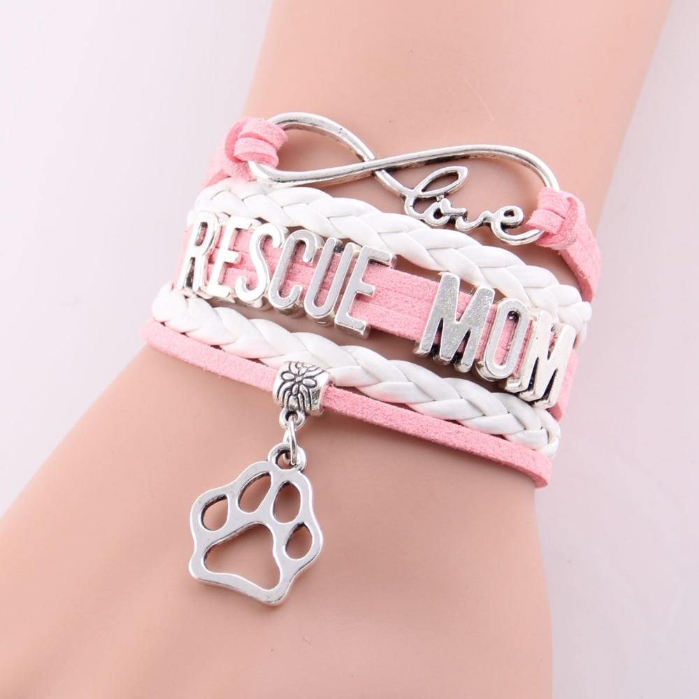 Little Minglou 3 colors infinity love RESCUE MOM bracelet dog paw ...
