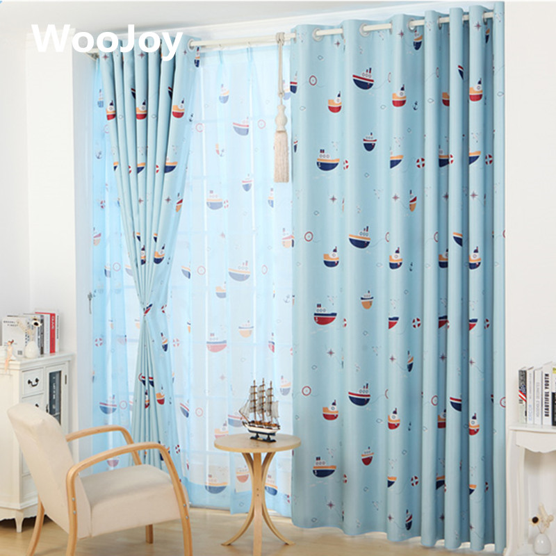 blackout sailing kids room curtains for baby room window curtain panel for living room curtain tulle - Blackout Blinds For Baby Room
