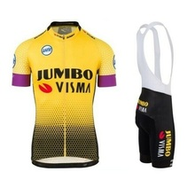 где купить 2019 Pro team jumbo visma cycling jersey set mens bicycle maillot MTB Racing ropa Ciclismo summer quick dry bike cloth GEL pad дешево