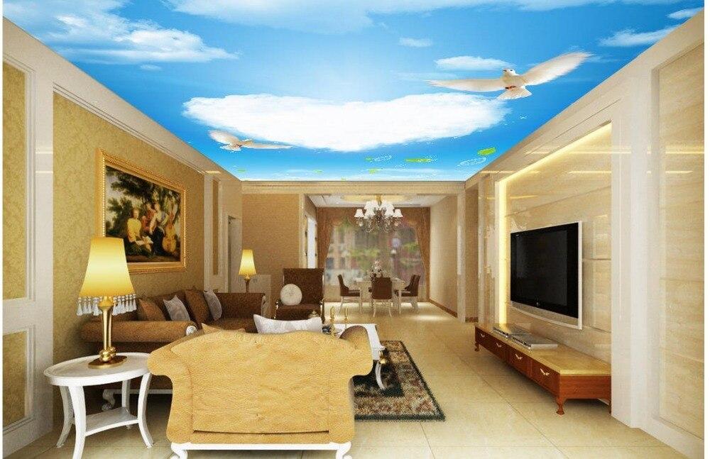 personnalis 3d photo mur papier nuage bleu ciel colombe plafond 3d papier peint moderne pour. Black Bedroom Furniture Sets. Home Design Ideas
