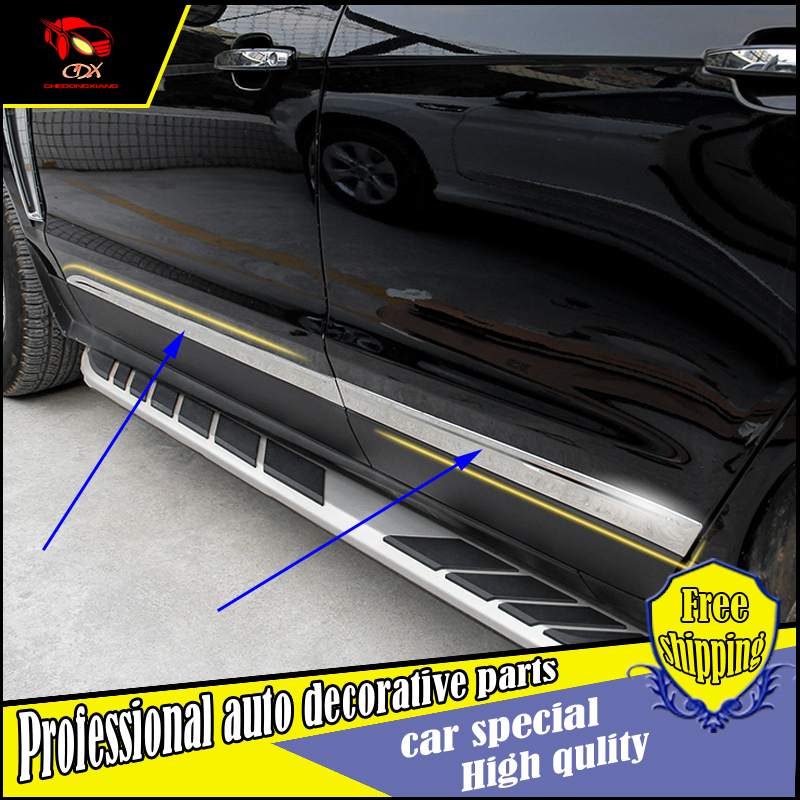 NEW ACCESSORIES FOR Cadillac SRX 2010-2014 stainless steel SIDE DOOR BODY GARNISH MOULDING COVER trim PROTECTION CAR STYLING high quality stainless steel chrome body side moulding cover trim for 2009 2010 2011 2012 2013 2014 audi q5 car styling