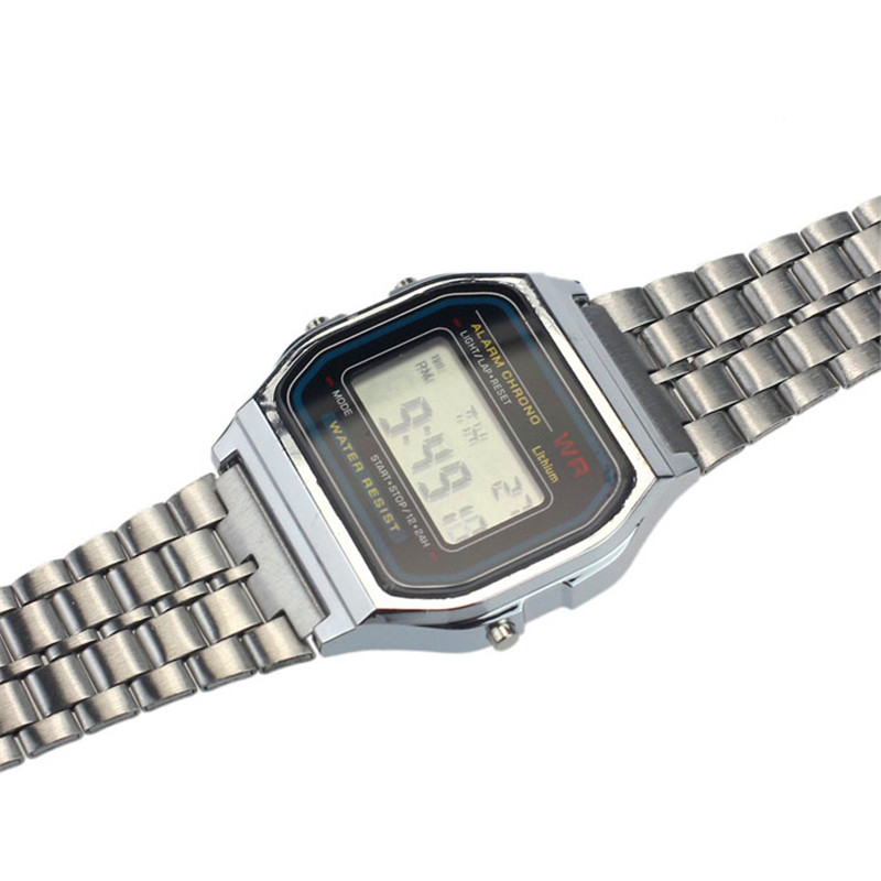 Watches OTOKY Sport Womens Men Stainless Steel Watch Vintage Alarm Stopwatch Digital Wrist Watch Drop Shipping