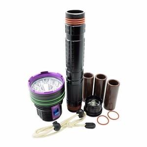 Image 5 - Linterna de buceo LED impermeable de 12 x XM L2 20000 lúmenes, linterna subacuática de 100m para buceo, Linterna + batería de 3x18650 + cargador
