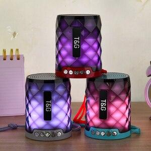 Image 4 - T & G 155 Mini haut parleur Bluetooth diamant Portable lumière LED extérieur sans fil haut parleur Support mains libres appel TF carte USB disque