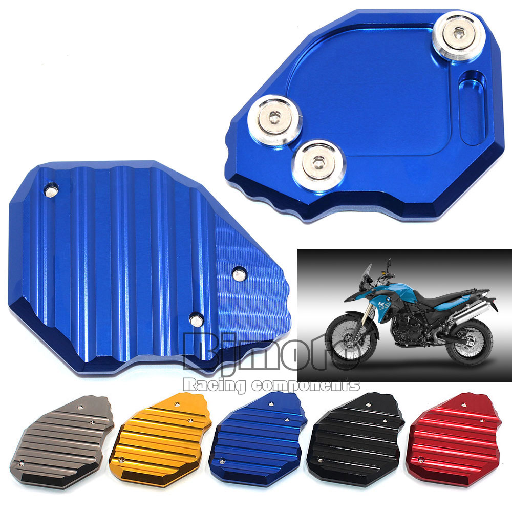 For BMW F800GS 2008-2015 Blue Motorcycle CNC Aluminum Side Stick Stand Plate Enlarge Extension