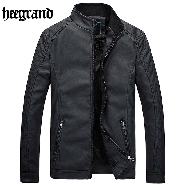 HEE GRAND 2017 Male Leather Jackets Soft PU Leather Jackets Imitation Sheepskin Coat For Men Leather Clothing MWP333