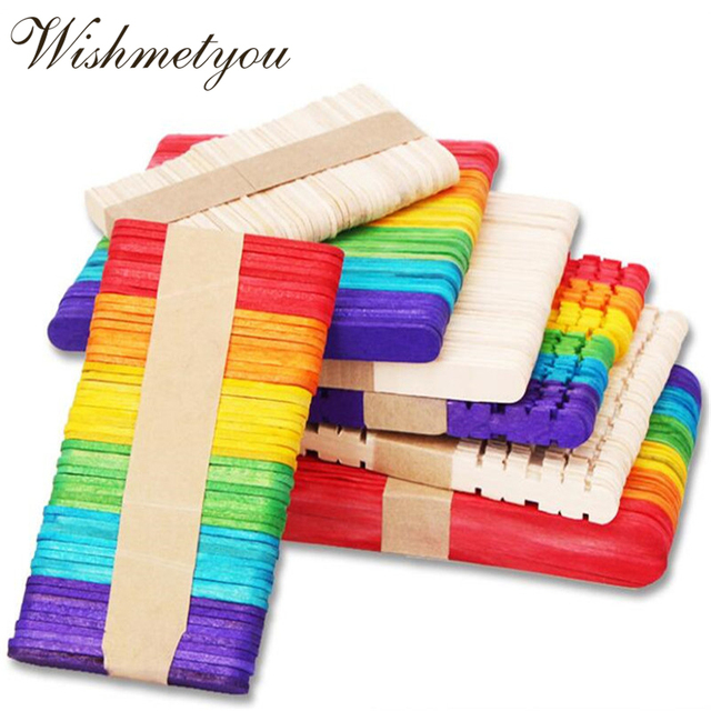 Wishmetyou 50pcs Diy Crafts Colorful Creative Ice Cream Wood Sticks